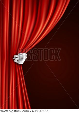 Theater Stage Red Velvet Open Retro Style Curtain With Human Hand In Glove Background Vector Illustr