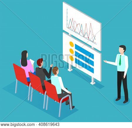 Business People Working Analyzing Financial Statistics. The Marketer Examines Information With Chart