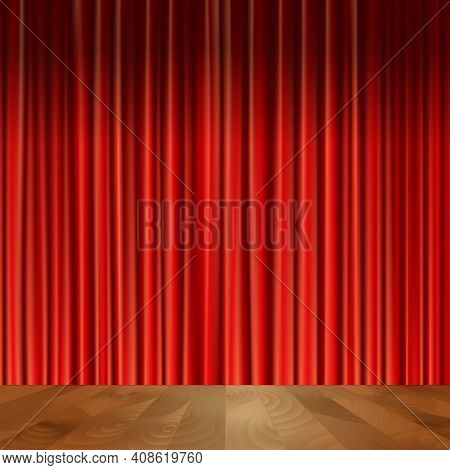 Theater Stage Scene With Wooden Floor Red Velvet Vintage Style Curtain Background Vector Illustratio