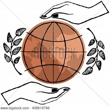 Planet Is In Hands Of Woman. Outlines Of Parallels And Meridians On Earth Vector Illustration. Earth