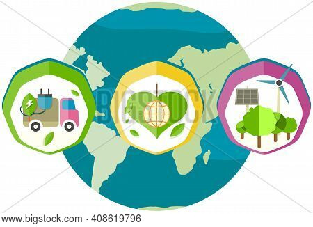 Nature And Environmental Care Concept. World Globe Vector Illustration. Ways To Prevent Problems Wit