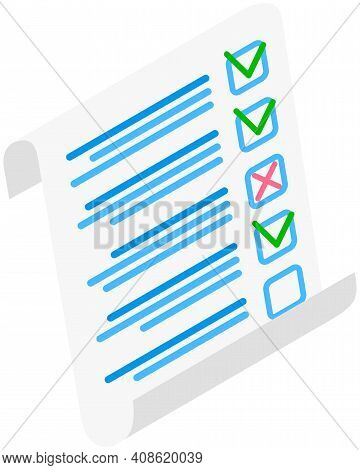 Completed Survey Checklist Sheet Vector Illustration. Education Test, Questionnaire, Document With V