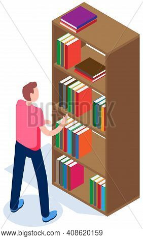 Student In Library Vector Illustration. Guy Pulls Out Book From Bookshelf. Man Chooses Magazine. Boo