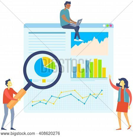 Man With Magnifier Showing Diagrams On Board To Colleagues. Growth Arrows And Chart On Table. Person