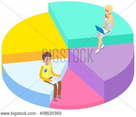 People Studing And Workinf On Laptop And Sitting On Sectorized Chart. Online Education Concept. Man
