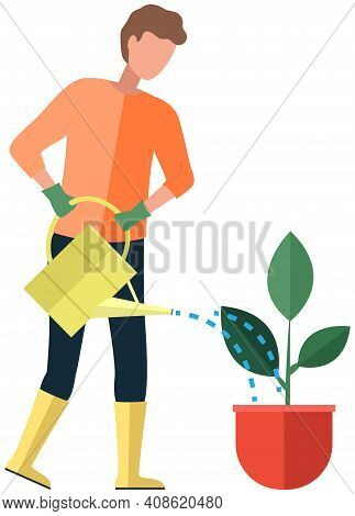 Male Character Watering Flower In Pot. Guy Takes Care Of Green Plant With Big Leaves. Man Holds Wate
