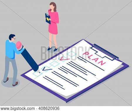 Form Survey Printed On Paper. Man With Pencil Fills Out Plan Of Affairs. Girl Standing With File Fol