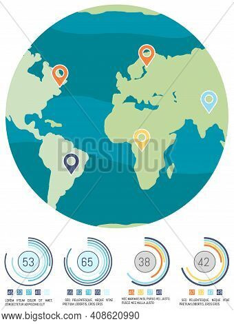 Planet With Map Marks. Ratio Of Numbers Near World Globe Concept. Level Of Pollution On Earth Vector