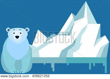 Wild Animal Living In Antarctica Vector Illustration. Large Mammal With White Fur From North. Polar