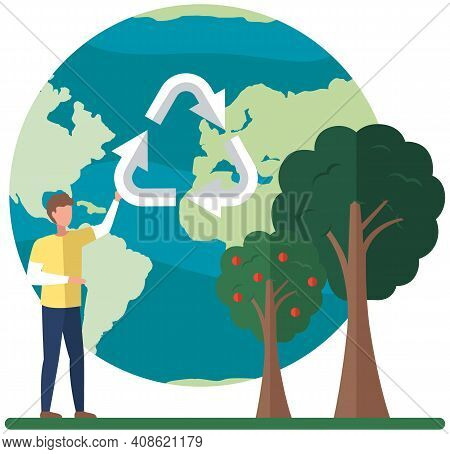 Planet With Arrows As Symbol. Male Character Is Holding Recycling Logo On Background Of World Globe.