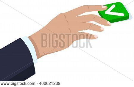 Hand Of Man In Business Suit Pressing Button Yes. Choice, Right Decision And Answer. Man Clicks On C