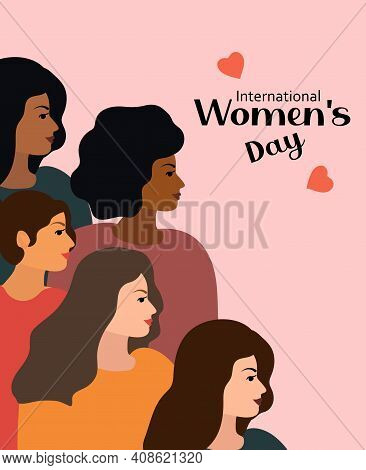 International Women S Day 8 March. Vector Illustration With Women Of Different Nationalities And Cul