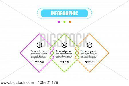 Timeline 3 Point Banner Elements And Numbers. Square Presentation Business Infographic Template With