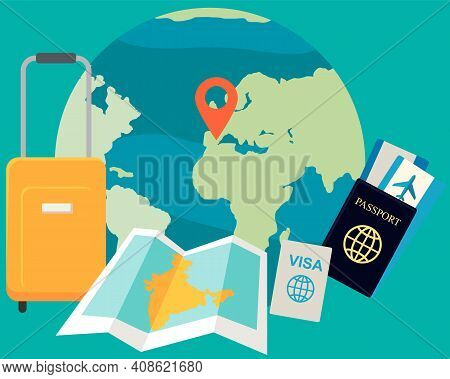 Passport, Boarding Pass, Visa, Luggage, Map And Planet Earth Icon. Traveling Abroad, Vacation, Journ