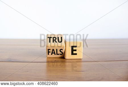 False Or True Symbol. Turned A Wooden Cube And Changed The Word 'false' To 'true' Or Vice Versa. Bea