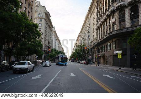 Buenos Aires, Argentina - January, 2020: View Of The Street Avenida Presidente Julio Argentino Roca