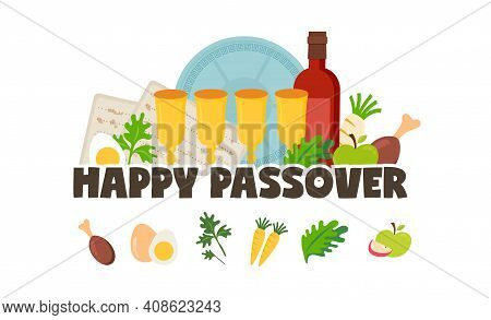 Pesah Celebration Greeting Card, Jewish Passover Holiday. Greeting Cards With Traditional Icons, Fou