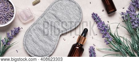 Healthy Night Sleep Concept. Sleep Mask And Lavender Products For Healthy Sleep On Textile Banner