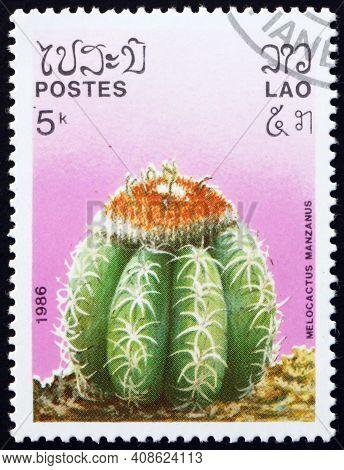 Laos - Circa 1986: A Stamp Printed In Laos Shows Dwarf Turks-cap Cactus (melocactus Matanzanus), Is