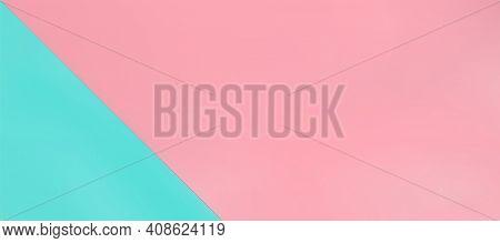 Soft Pink And Light Blue Pastel Paper Color Background. Horizontal Obliquely Overlap, Mint Backdrop.