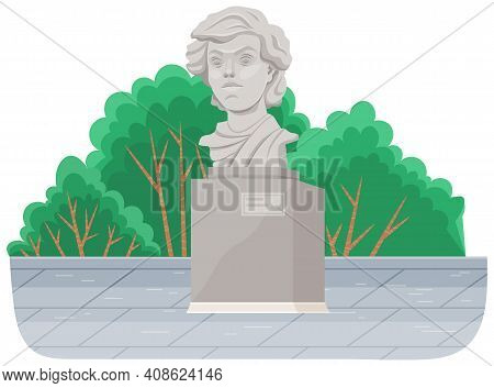 Concrete Monument In The City Park, Bust Isolated On White. Historical And Cultural Attraction. The
