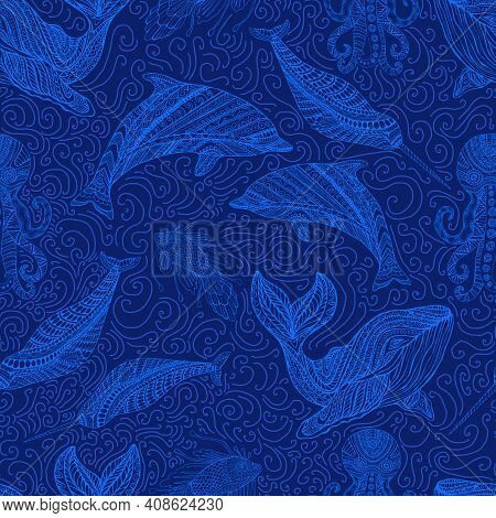 Amazing Whale Dolphin Octopus Narwhal And Fish Ornamental Sea Waves Fantasy Seamless Pattern, Blue O