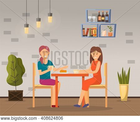 Two Girls Sitting At Cafe And Talking, Friends Spend Leisure Time Together With Cup Of Coffee Or Tea