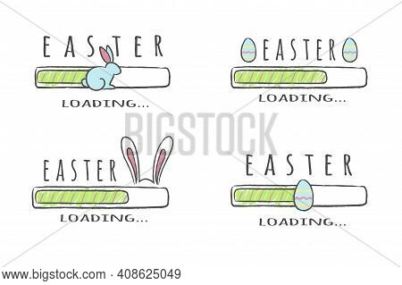 Set Of Progress Bars With Inscription - Easter Loading Collection In Sketchy Style. Vector Illustrat