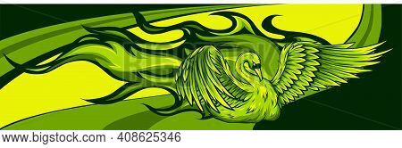 Illustration Swan With Flames On Colored Background