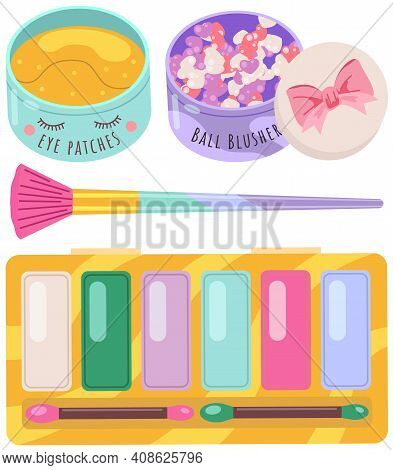 Make-up For Woman Elements Collection. Set Of Decorative And Care Cosmetics. Eyeshadows, Eye Patches