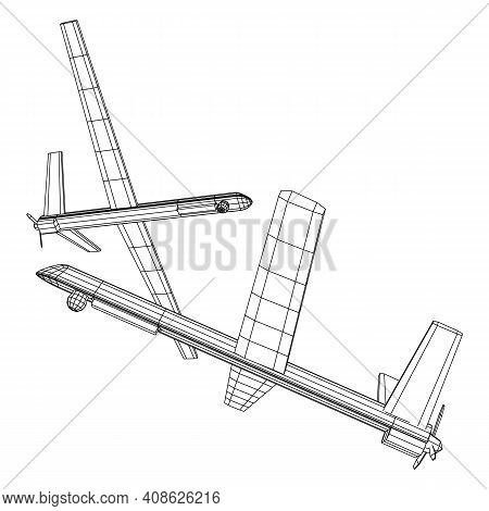 Military Drone Combat Unmanned Aerial Vehicle. Recon Aircraft Plane. Wireframe Low Poly Mesh Vector