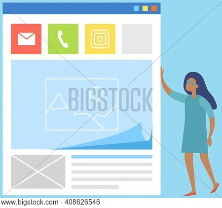 Smartphone Sms Screen, Mailbox, Icons For Communicating With Clients By Phone Or Internet. Woman Sta