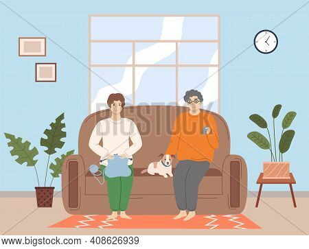 Adult Couple Watching A Movie. Man And Woman Sit On Against The Tv In The Home Atmosphere. Vector Fl