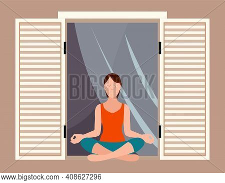 Woman Doing Yoga Exercise Sitting On The Windowsill Near An Open Window. Young Fit Girl Sitting In L
