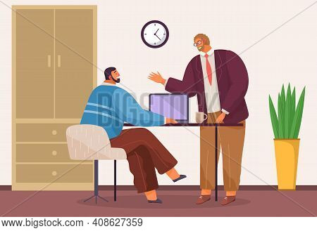 Businessmen Dressed In Casual Clothes Are Sitting Table With Laptops And Talking Colleague. Office W