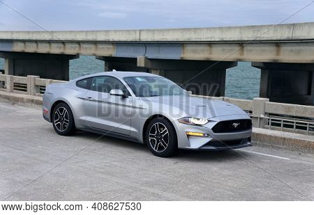 St Petersburg, Florida, U.s.a - February 16, 2021 - A Brand New 2021 Ford Mustang Sports Car In Silv