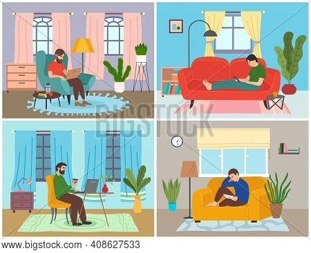 Surfing In Internet, Relaxing People At Home, Man Sitting In Cozy Armchair With Laptop, Guy Lying On