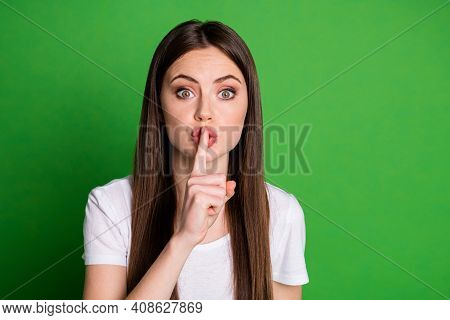 Photo Of Amazing Sweet Lady Wear White T-shirt Hold Arm Finger Mouth Lips Ask Stop Talking Isolated