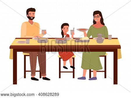 People Are Eating Indian Food At Home. Family In National Costumes Isolated On White Background. Din