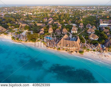 Aerial Shot Of Zanzibar At Sunset Time On The Nungwi Beach
