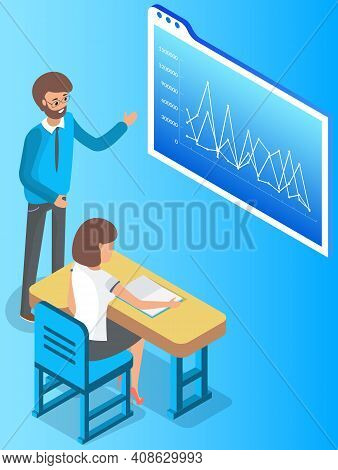 Man Teacher Is Using Interactive Whiteboard With Graphs Teaching Statistical Analysis. Business Trai