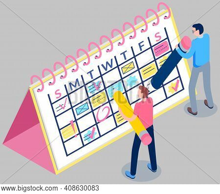 Business Planning Concept. Agenda Reminder Vector Illustration. Group Of Employee Write Schedule On
