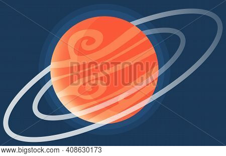 Cartoon Red Fantastic Planet On Dark Blue Space Background. Saturn Made Of Gases With Ring Of Ice An