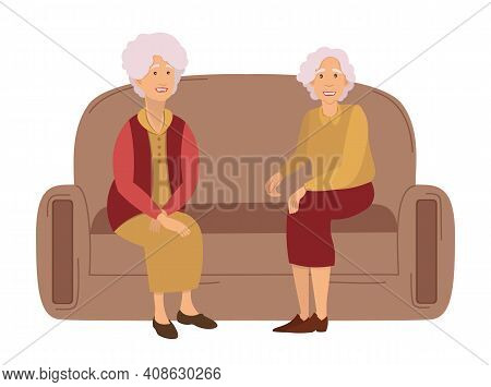 Two Grandmothers On A Meeting At Home Sitting On The Sofa Communicating, Isolated On White. Friendsh