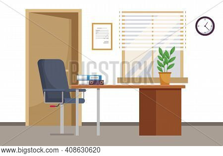 Modern Workplace Flat Design. Office Chair And Office Desk With Stack Of Books In Cozy Room Interior