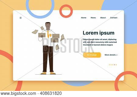 Unhappy Manager With Stacks Of Papers. Office Worker Holding Heaps Of Documents Flat Vector Illustra