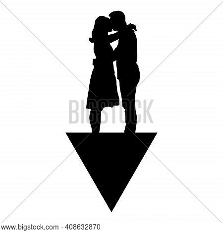 Vector Illustration Symbolic Meaning Black Silhouette Of A Man And A Woman Who Are Hugging Kissing W