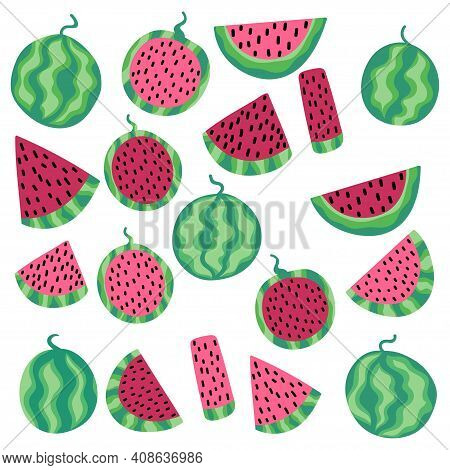 Watermelon Fruit Set Isolated On White Stock Vector Illustration. Funny Cartoon Whole And Sliced Wat