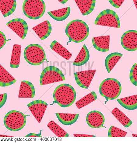 Watermelon Slices On Pink Seamless Pattern Stock Vector Illustration. Cartoon Geometry Shaped Fruit