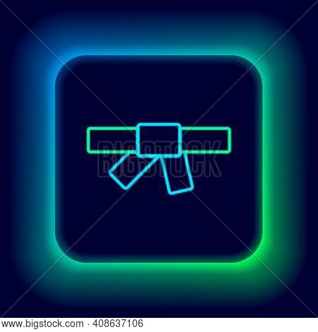 Glowing Neon Line Black Karate Belt Icon Isolated On Black Background. Colorful Outline Concept. Vec